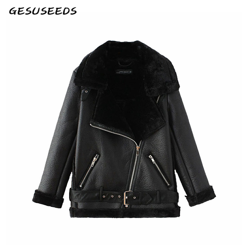 Зимняя Черная куртка из искусственной кожи, женская кожаная куртка с меховым воротником, Толстая теплая байкерская куртка для женщин, винта