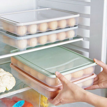 Clear Plastic Egg Box Kitchen Storage 24 Grid Eggs Holder Stackable Refrigerator Fresh Tray