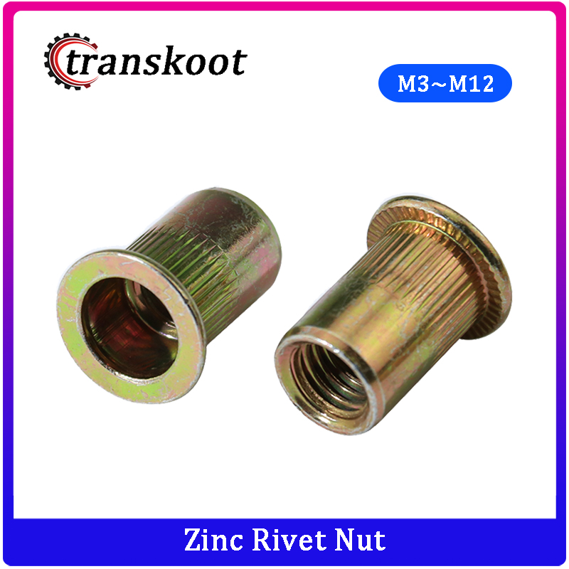 M8 Zinc Plated Carbon Steel Rivet Nut Flat Head Insert Nutsert Pack of 50