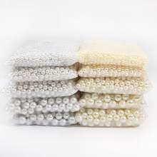 2/3/4/5/6/8/10/12/14/16/18mm marfim/branco nenhum furo acrílico redondo abs imitação pérola grânulos soltos para joias que fazem suprimentos