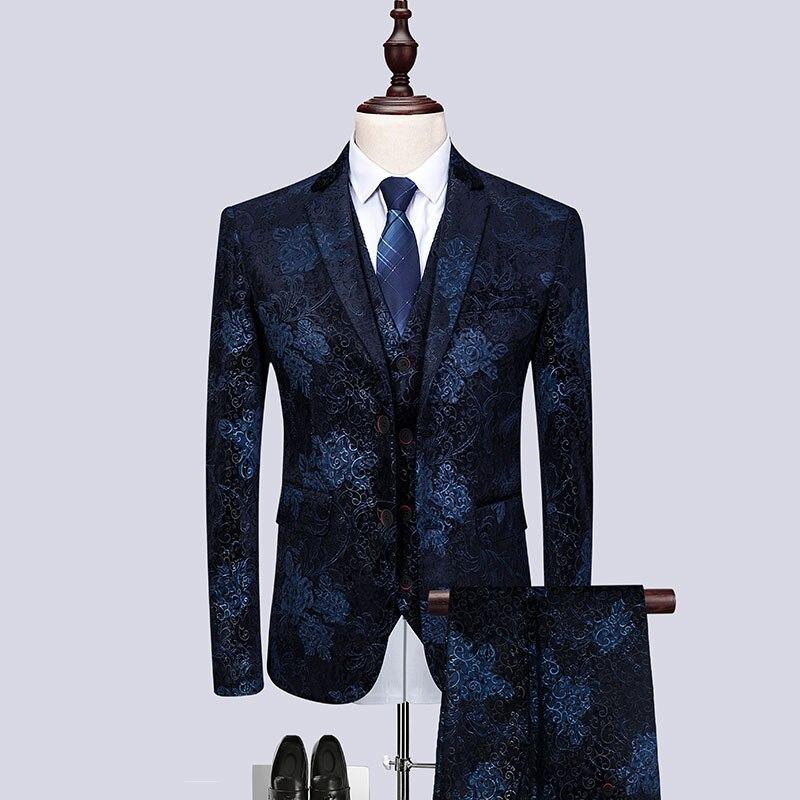 New Brand 2020 High Quality Men 3 Pieces Set Suits Slim Fit Fashion Floral Print Men Suits Wedding Evening Party Costume Homme