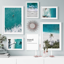 Surf Sea Waves Beach Coconut Tree Bridge Wall Art Canvas Painting Nordic Posters And Prints Wall Pictures For Living Room Decor coconut palm tree beach wall art canvas painting nordic landscape posters and prints wall pictures for living room unframed