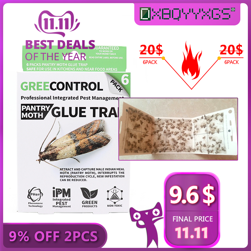 DXBQYYXGS 6pcs/Box Female Pheromone Moth Trap Pest Control Home Physics Strong Viscose Killer Moth Safety&Non-toxic