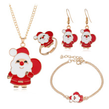 Fashion Christmas Gold Jewelry Set Santa Claus Necklace/Bracelet/Earring/Ring Jewelry Sets Gift for Christmas Day 2019 New new alloy gorgeous fashion christmas theme snowman cane santa claus color pendant bracelet bracelet christmas best gift jewelry