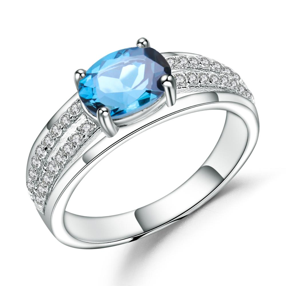 Gem's Ballet 1.57Ct Oval Natural London Blue Topaz Gemstone Ring Genuine 925 Sterling Silver Oval Rings For Women Fine Jewelry