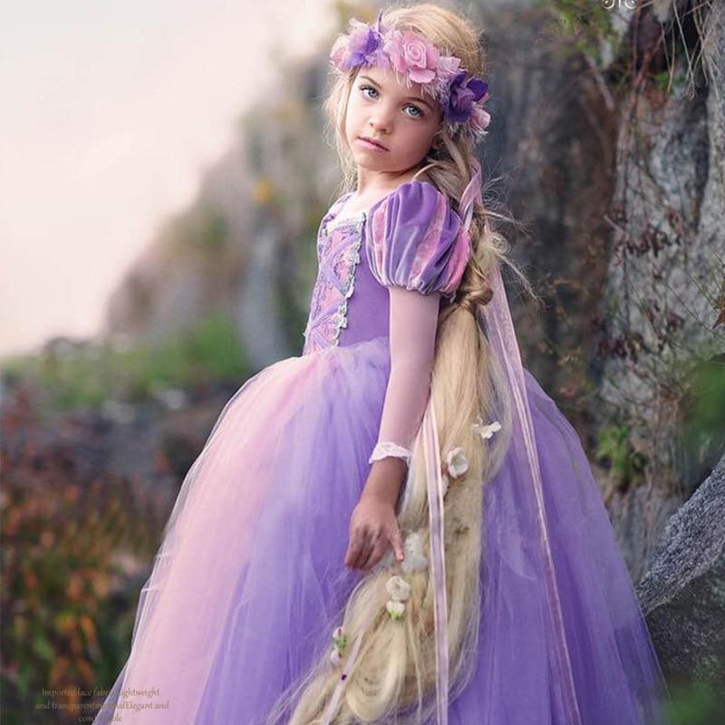 Long Sleeve Girls Christmas Dress Princess Dress up Halloween Party Gown Cartoon Character Cosplay Costume for Kids Children 2