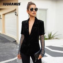 IUURANUS Patchwork Diamonds Elegant Women's Coats Notched Long Sleeve Perspective Coat Female 2019 Autumn Fashion New