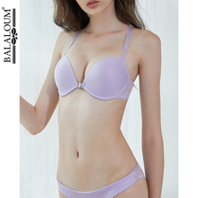 BALALOUM Sexy Women Seamless Push up T shirt Bra Sets Front Closure Y line Straps Racer Back Lace Brassiere Underwear Hot Purple