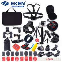 Mounts for Gopro Accessories Set for go pro hero 7 black 6 5 kit 3 way selfie stick for Eken h9r H8R / for xiaomi yi EVA case