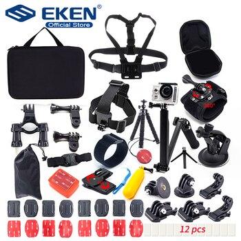 Mounts for Gopro Accessories Set for go pro hero 7 black 6 5 kit 3 way selfie stick for Eken h9r H8R / for xiaomi yi EVA case