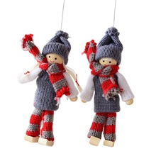 Cute Wool Felt Couple Small Doll Christmas Hanging Decoration Festive Party New Year Supplies Ornaments