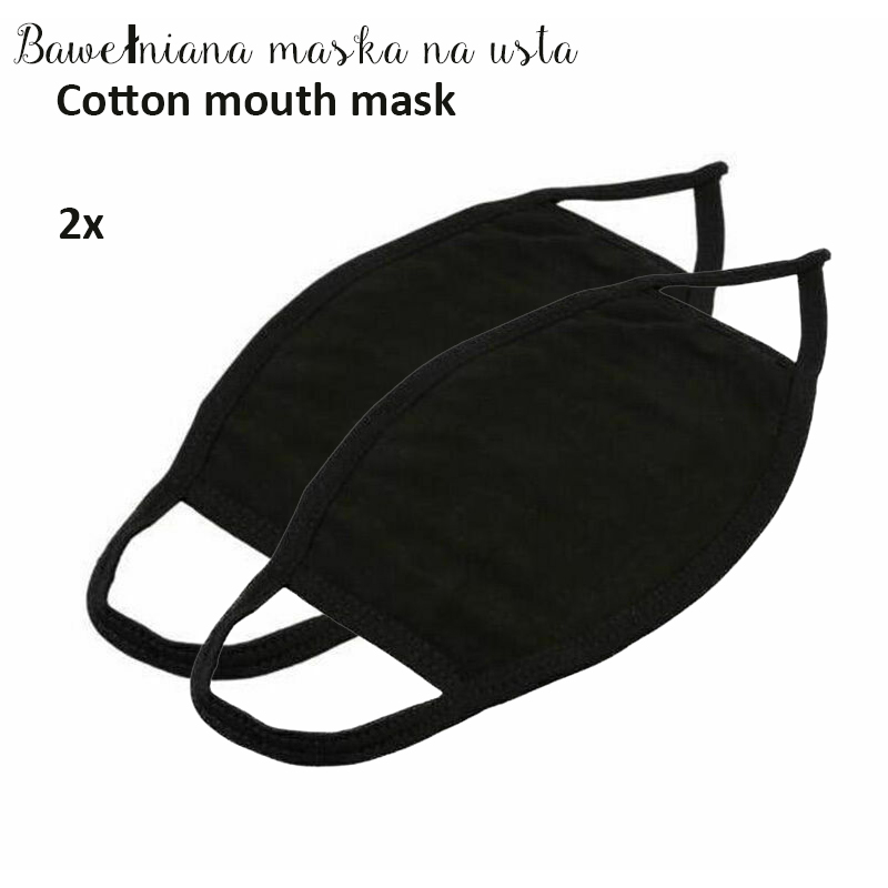 2pcs Black Cotton Dustproof Mouth Mask Black Breathing Mask Men Women Muffle Mouth Face Cover Warm Cycling Outdoor Masks