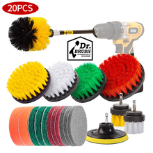 Brush Drill-Bit Scrub-Pads Sponge Cleaning-Brush-Set Power-Scrubber with Extender Extender
