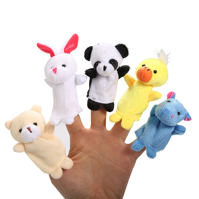 10/6PCS/Lot Cartoon Animals Velvet Finger Puppet Finger Couple Doll Plush Toys Baby Cloth Educational Hand Story Baby Soft