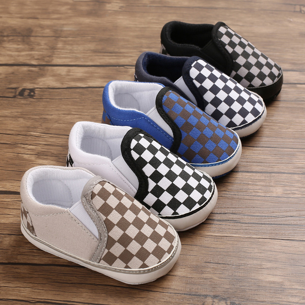 Classical Checkered Toddler First Walker Newborn Baby Shoes Boy Girl Soft Sole Cotton Soft Casual Sports Walking Crib Shoes