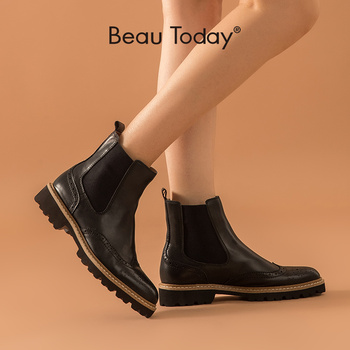 BeauToday Chelsea Boots Women Calfskin Genuine Leather Round Toe Elastic Band Ladies Ankle Brogues Boots Handmade  03439 beautoday chelsea boots women cow suede pointed toe chunky heel elastic ladies ankle boots handmade a03324
