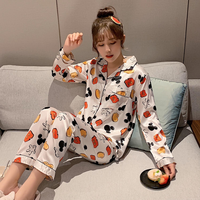 Loose Comfortable Pajama Sets For Women Soft Smooth Silk Made Spring Summer Pyjamas For Girl Casual Night Sleepwear