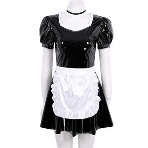 Image 2 - 3Pcs Women Adults French Maid Cosplay Costume Outfit Square Neck Puff Sleeve A line Patent Leather Dress with Apron and Headband