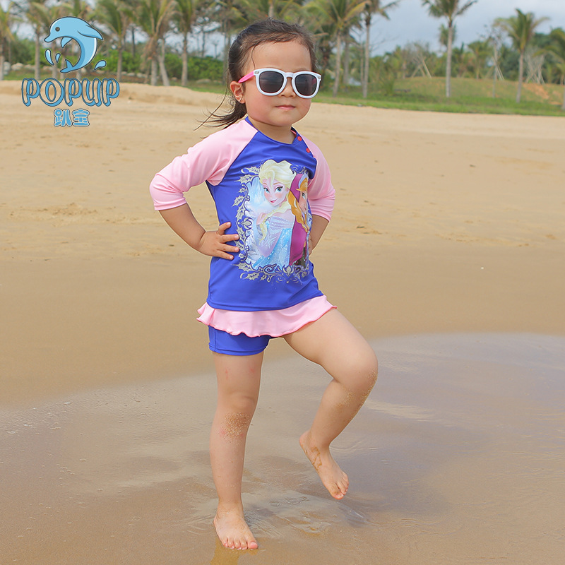 Doll Print GIRL'S One-piece Swimming Suit 2018 New Style KID'S Swimwear Dress Baby Bathing Suit