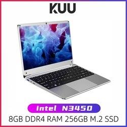 Kuu 14.1 polegada intel n3450 quad core 8gb ddr4 ram 256gb ssd notebook ips portátil layout completo teclado adicional sata 2.5 porta