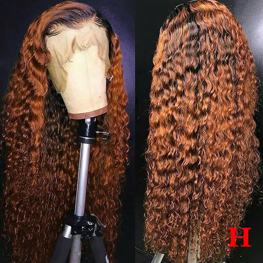 13x6 1b/30 Curly Lace Front Human Hair Wigs Pre Plucked 150% Ombre Colored Human Hair Wig Honey Blonde Lace Wigs Brazilian Remy