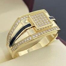 Criativo ouro cores preto listras incrustadas com zircão para homens punk estilo festa de casamento masculino anéis jóias presente