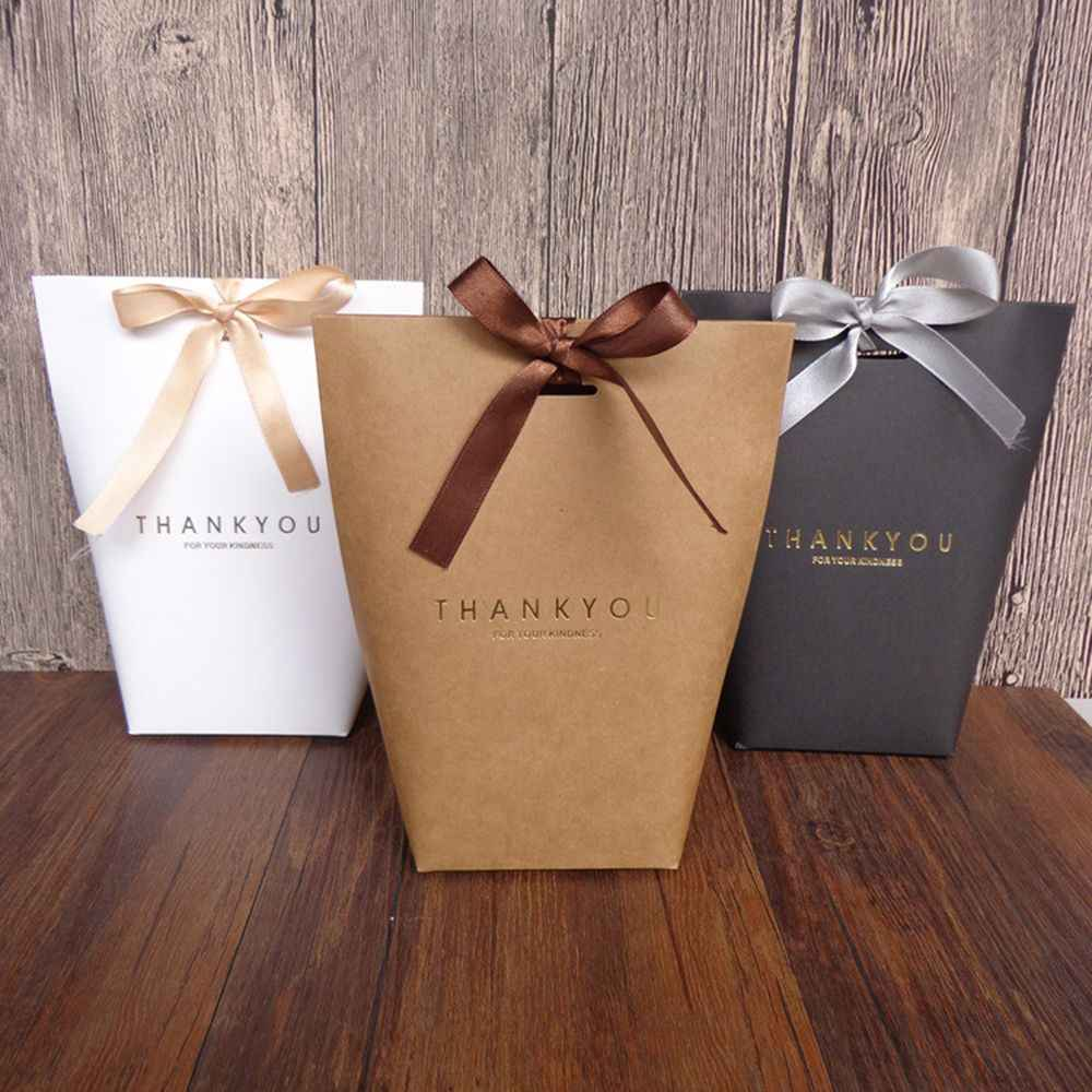 1 pcs Thank you Kraft Paper Bag Elegant Party Wedding Favour Gift Sweets Boxes Bags Chocolate Boxes Bags 3 Colors Package Bags