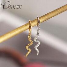 CANNER Womens Punk Style Animal Snake Earrings 100% 925 Sterling Silver Gold Snakelike Pendant Stud