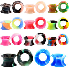 1Pair Silicone Plugs and Tunnels Flexible Thin Ear Tunnel Double Flared Ear Piercing Flesh Tunnel Ear Gauge Expander Stretchers