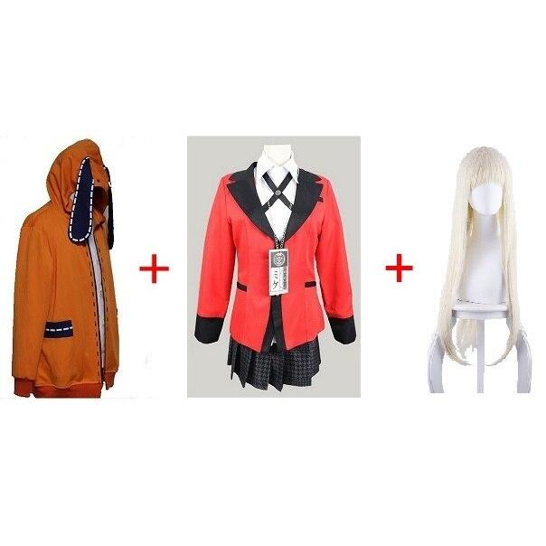 WSCOLL Anime Kakegurui Cosplay Figure Yomotsuki Runa Cosplay Costume JK /École Filles Uniforme /À Capuche Halloween Robe pour Femmes S Ensemble Complet