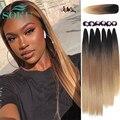 Synthetic Lace Closure Weaving Bundles Hair Ombre Brown Color Weave Bundles SOKU Nature Straight Hair Extensions 6 Bundles