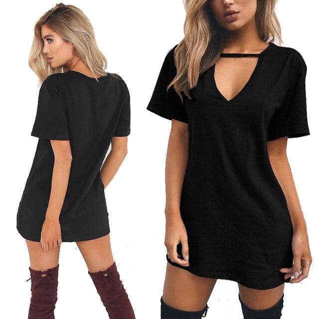 Summer Women Sexy Tshirt DressFemale Choker V Neck Dresses Girls Mini T-Shirt Dress Short Sleeve LadiesClothing Dropshipping 1