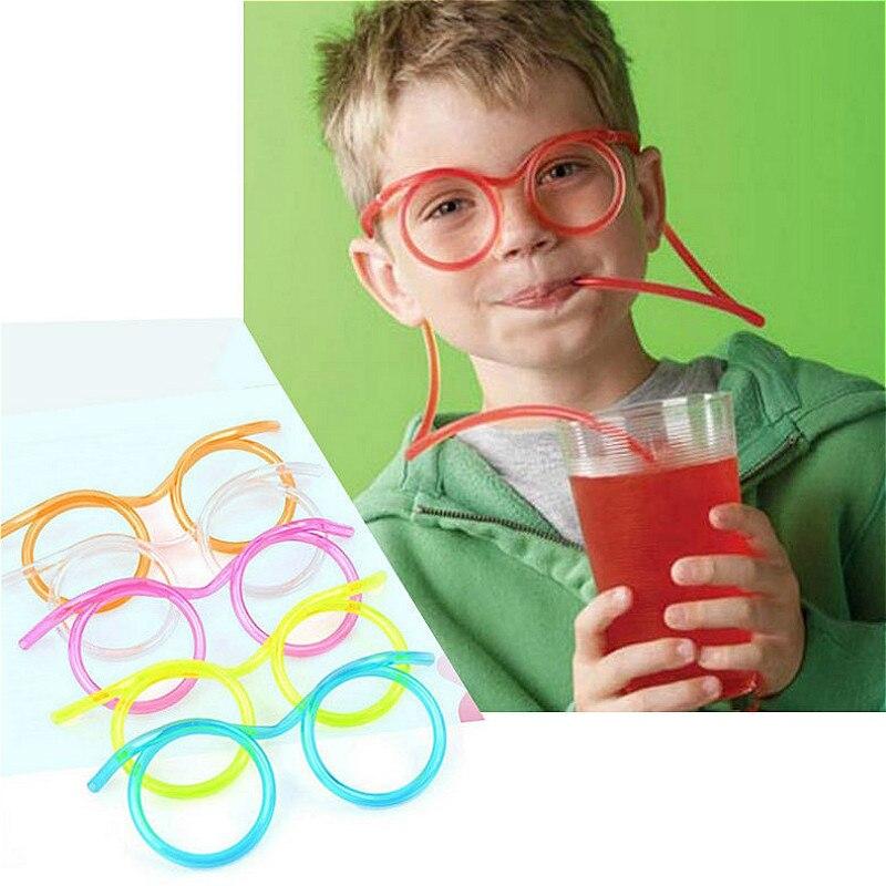 כיף רך פלסטיק קש משקפיים גמיש שתיית קשיות צינור כלים ילדי חידוש צעצוע מסיבת אספקת הבר אספקת Kawaii