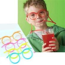 Lunettes de paille en plastique, souples et amusantes, pailles à boire flexibles, Tube, pour enfants, nouveauté, jouet fournitures de fête de Bar Kawaii 1 pièce