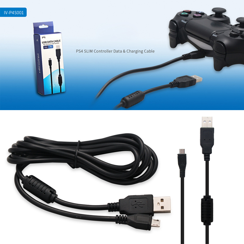 2 In 1 Micro Charging USB Data Cable Charger For Sony PS4 Slim Game Controller
