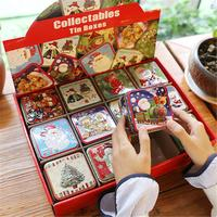12PCS Candy Box Christmas Small Square Box Tin Packaging Gift Box For Candy Baking Biscuit