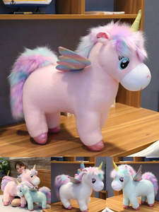 Doll Wings Plush-Toy Unicorns Hair Stuffed-Animals Fluffy Unique Gift Horse for Child