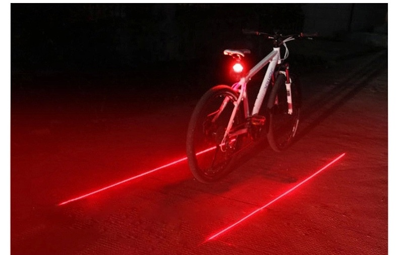 Bike Cycling Lights Waterproof 5 LED 2 Lasers Bike Taillight Safety Warning Light Bicycle Rear Bicycle Light Tail Lamp Part