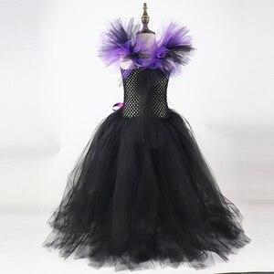 Image 5 - בנות תחבושת קרנות שחור רעה גלגוליו מלכת ליל כל הקדושים תלבושות בנות טוטו ילדי שמלת חג המולד מסיבת יום הולדת שמלות XX0