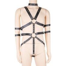 Men Body PU Leather Full Harness Restraint Set Sexy Male Lingerie Harajuku Goth Fetish Halloween Sex Bdsm Bondage Erotic Product