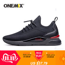 ONEMIX Men Sneakers Breathable Mesh Outdoor Sport Shoes Air Cushion Flats Training Athletic Male Slip On Jogging Running Shoes(China)