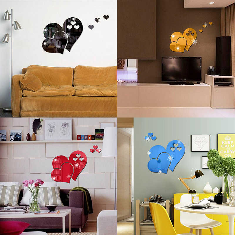 1 Set Gold Silver 3d Butterfly Mirror Wall Sticker Heart Round Wall Decal for DIY Kids Room Home Decoration Party Wedding Decor