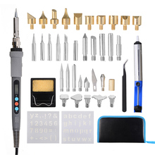42Pcs Adjustable Soldering Iron Carving Pyrography Tool Wood Embossing Burning Soldering Pen Set Welding Tips Kit US Plug 1 set pyrography wood working and soldering tips alphabet numbers symbols stencils tool parts accesspries supplies