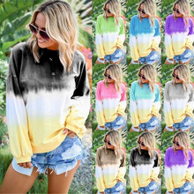 Rainbow Female Spring Gradient Printed Long-Sleeved Round Neck Stitching Street Womens Clothes