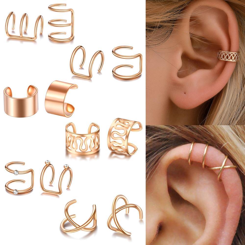 KSRA 12pcs/set 2020 Fashion Gold Color Ear Cuffs Leaf Earrings Women Climbers No Piercing Fake Cartilage Stud Earring Jewelry