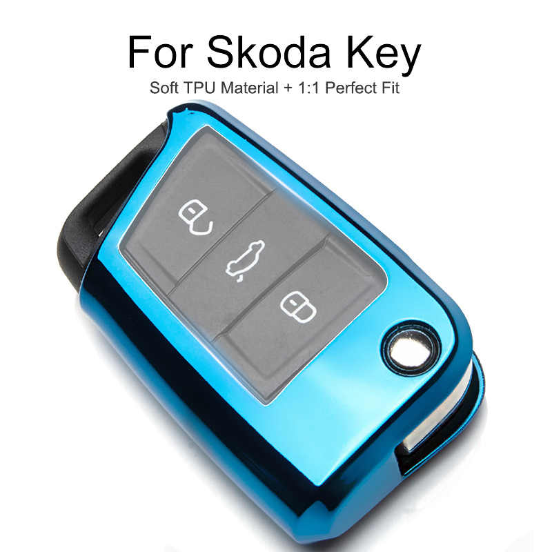 TPU Protection Car Key Cover Case For Skoda Fabia 2 3 Karoq Kodiaq Superb Octavia 2 Rapid 2018 2019 Key Chain Ring Accessories