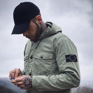 2020 New Arrival Spring Compass Logo Patched Pockets Men Jacket High Street Clothes Hooded Jacket Coat