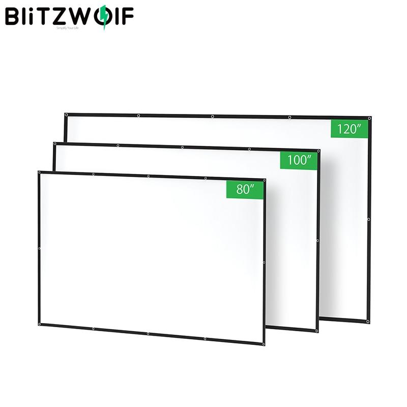 BlitzWolf BW-VS2 Портативный проектор Экран простой Шторы 80-дюймовый/100-дюймовый/120-дюймовый полиэстер с складной и сжатого 1080P