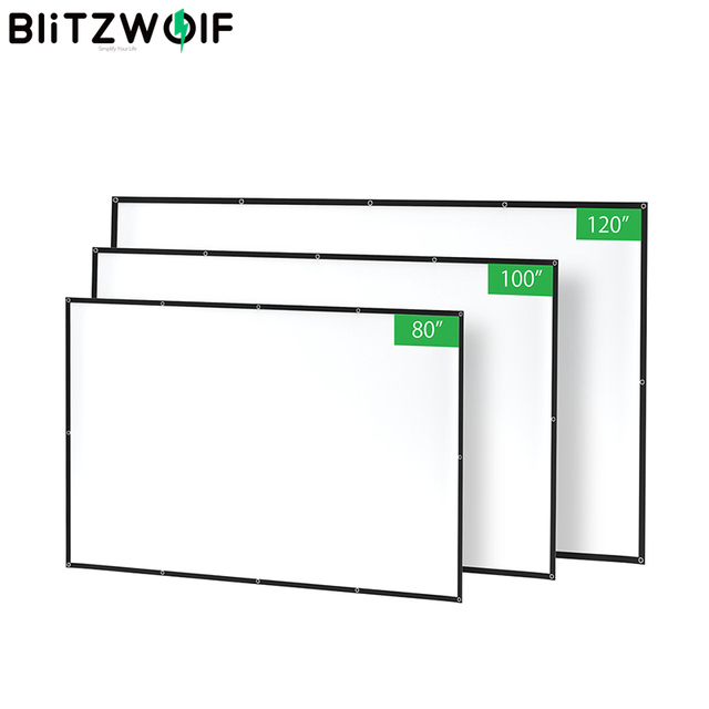 BlitzWolf BW VS2 Portable Projector Screen Simple Curtain 80 inch/100 inch/120 inch Polyester with Foldable & Compressed 1080P