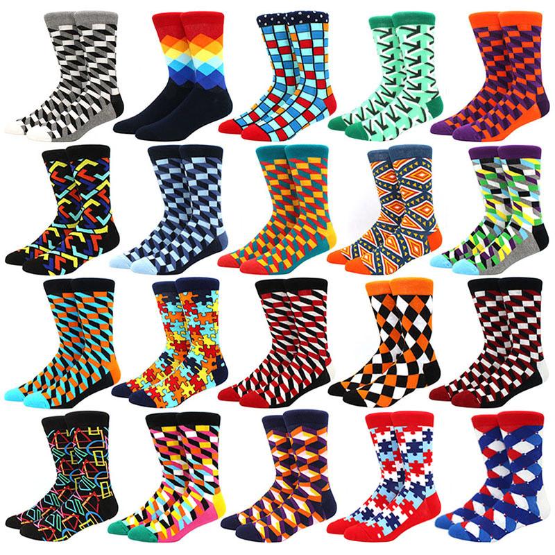 Men\'s Funny Happy Socks Fine Paragraph Diamond Pattern Argyle Three-dimensional Tube Geometric Funny Large size Combed Cotton